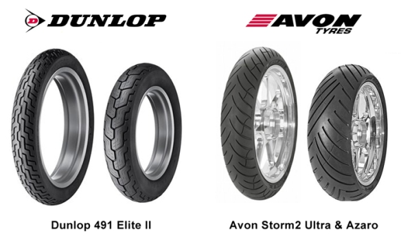 Dunlop Elite II and Avon Storm2 Ultra/Azaro tires