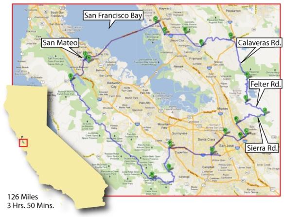Ride Map: Calaveras Road, Santa Clara County, CA