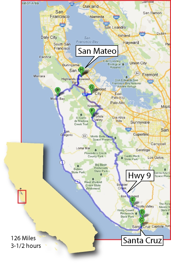 A great ride from San Mateo to Santa Cruz, California