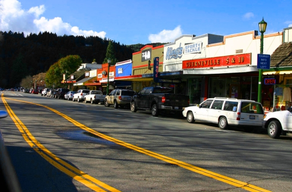 Photo of downtown Guerneville, California by Dennis Goedegebuure