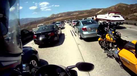 A view of what lane splitting looks like to the motorcyclist