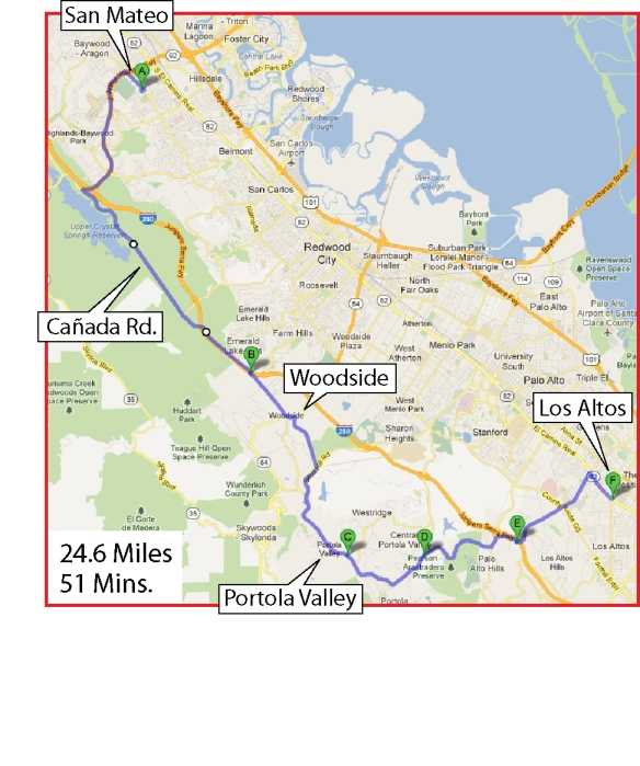 Here is how I commute from San Mateo to Los Altos in Silicon Valley