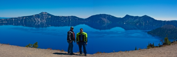 A panorama of Crater Lake in Oregon