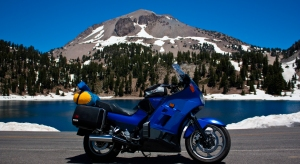 MyConnie fronts Helen Lake and Mt Lassen Peak