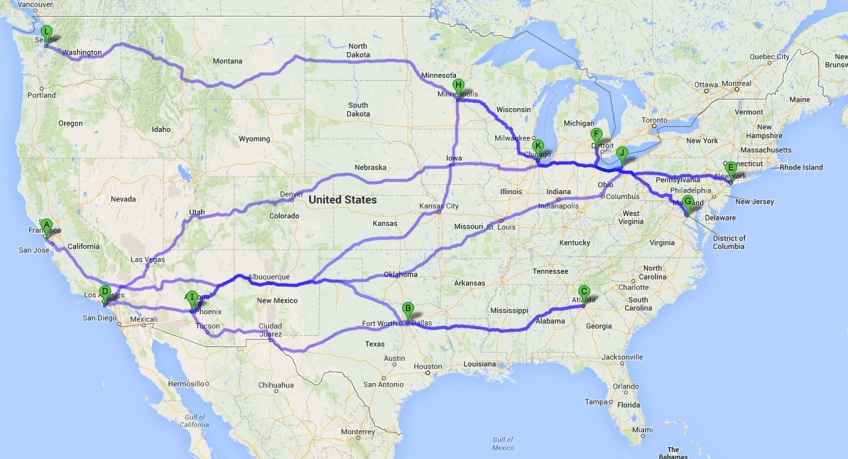 Map of 2013-2014 International Motorcycle Show Locations