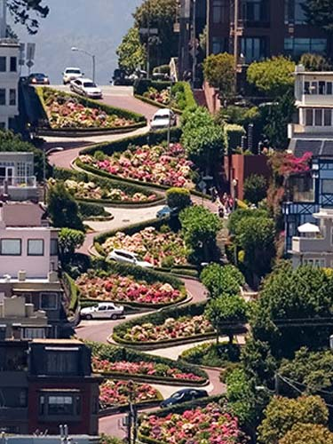 The world-famous Lombard Street in San Francisco