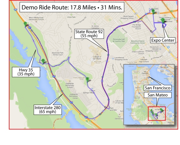 Map of the demo ride route