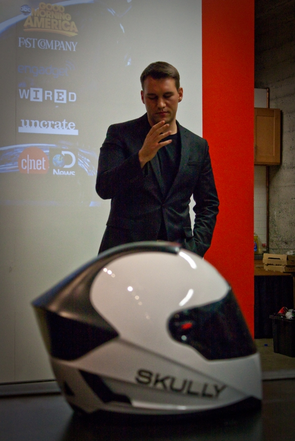 CEO Marcus Weller and his prototype P1 Skully heads-up display motorcycle helmet