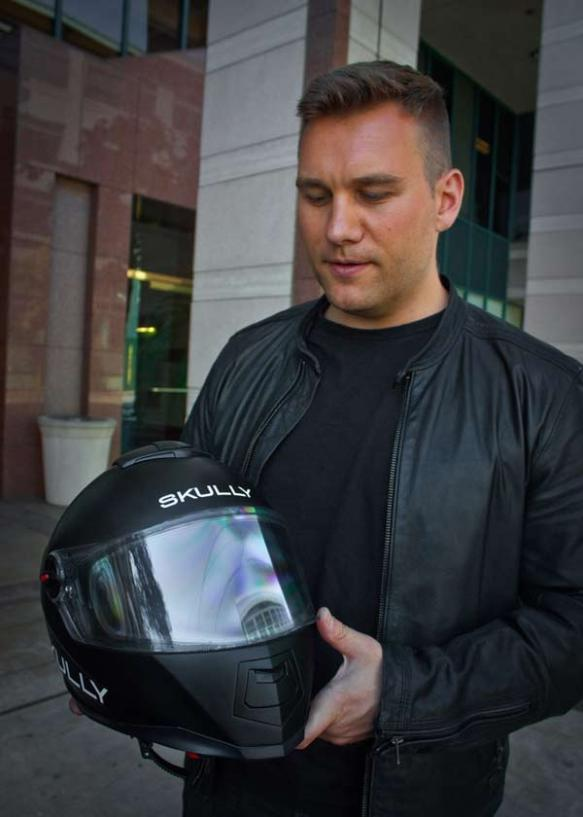 CEO Marcus Weller and the Skully Helmets AR-1 Augmented Reality Motorcycle Helmet